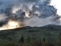 Rock Climbing Photo: Ominous skys behind the far Wilburn Ridge