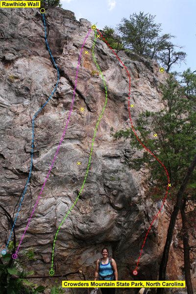 Rock Climbing Photo: Rawlhide Wall - Cliff Left  1)Cro-Magnon Crack (5....