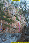 Rock Climbing Photo: Rawlhide Wall - Cliff Right  1)Disgustipated (5.11...