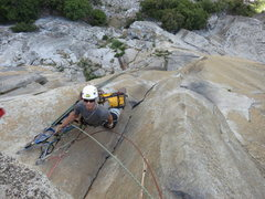 Rock Climbing Photo: Chad at the top of P2.  I'm leading P3.