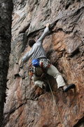 Rock Climbing Photo: Rawlhide Wall  Garrett DeBruin works the crimp rai...