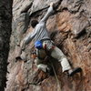 Rawlhide Wall<br> <br> Garrett DeBruin works the crimp rail to the jug getting past the crux on <br> <br> Disgustipated (5.11) sport<br> <br> Crowders Mountain State Park, North Carolina