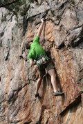Rock Climbing Photo: Rawlhide Wall  Bennett Harris clings to the Thumbu...