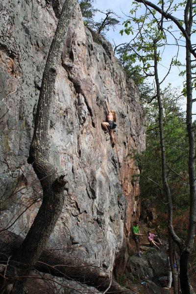 Rock Climbing Photo: Rawlhide Wall  Johanna Nevins leads Rawlhide (5.10...