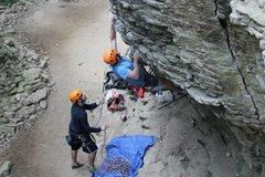 Rock Climbing Photo: Taking on the bouldery start (crux)