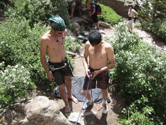 Rock Climbing Photo: Warren & Jerod figuring out their harnesses. ;)