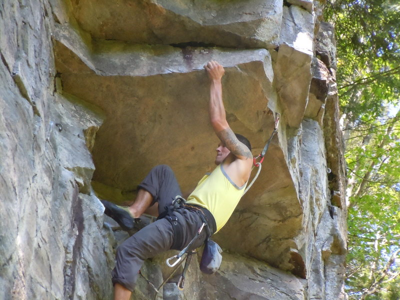 "Rock Climbing Photo: On the first ascent of ""Roof Direct"""