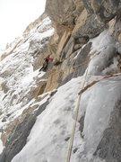 Rock Climbing Photo: Traverse pitch, climber KG, belayer Eric Lashinsky...