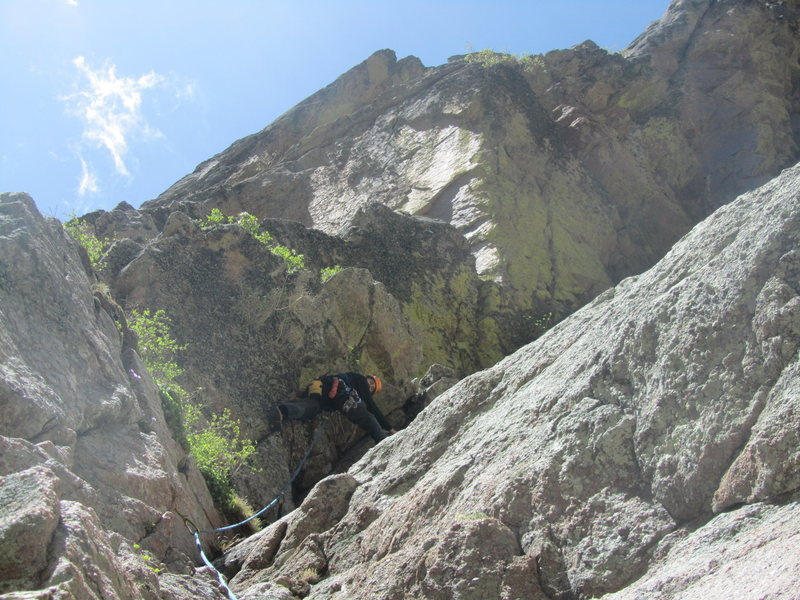 Rock Climbing Photo: Ryan leading Pitch 1, just below the belay ledge.
