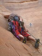 "Rock Climbing Photo: on ""Lacto Mangulation"" (5.10b), Moab, UT"