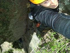 Rock Climbing Photo: Richard belays as Ryan climbs above the roof on Pi...