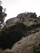 Rock Climbing Photo: Gino cruising up the Tower.