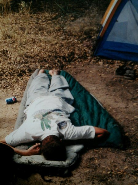 Recovering from a night at the beanfest. probably 2001??