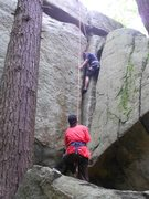 Rock Climbing Photo: Joe on double jam