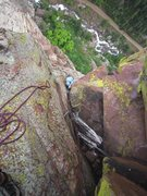 Rock Climbing Photo: Kat getting into the crux of P3 of The Diving Boar...