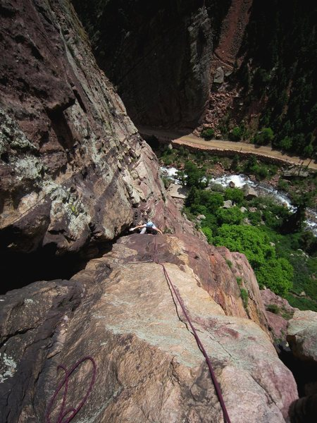 Rock Climbing Photo: Kat following the 3rd pitch of Redguard (5.8) to a...