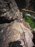 Rock Climbing Photo: Kat takes the easier way - the face beside the OW ...