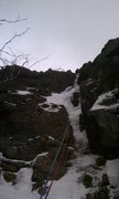 Rock Climbing Photo: WI3 finish, just before the gully heads left (This...