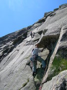 Rock Climbing Photo: Start of the crux pitch at the end of the grassy l...