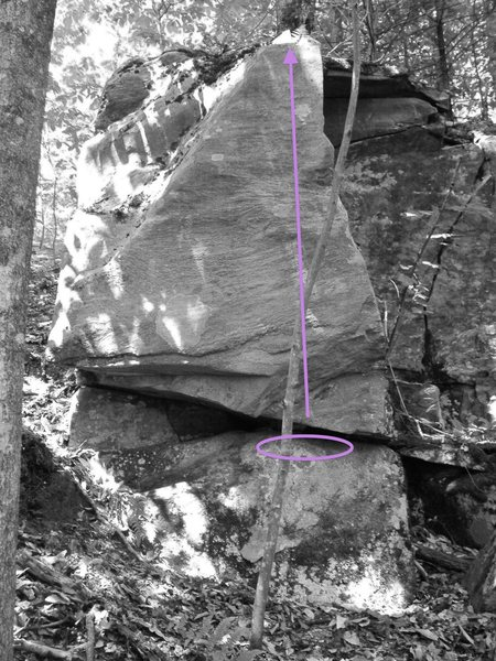 The better of the 2 routes on this outcrop.