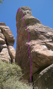 Rock Climbing Photo: Tangent takes the right highlighted line. Sine Wav...