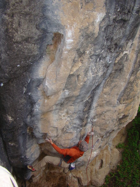 Lee Terveen guzzles down Pabst Blue Ribbon, 5.13b.<br> <br> Booze Wall. The Danks.<br> Spearfish Canyon, SD.