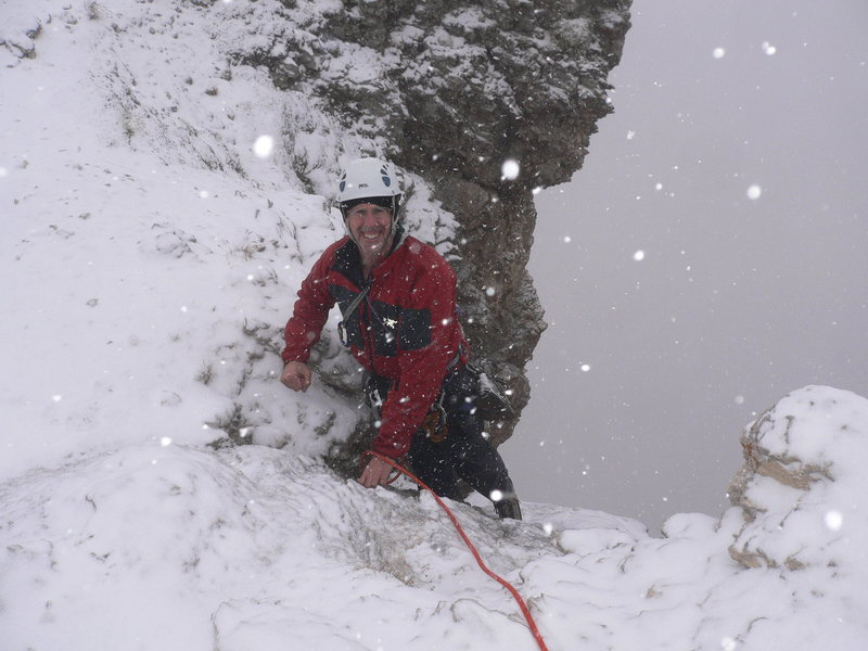 Dolomites, 4 inches of snow fell by the top-out on the route, rock route that is.