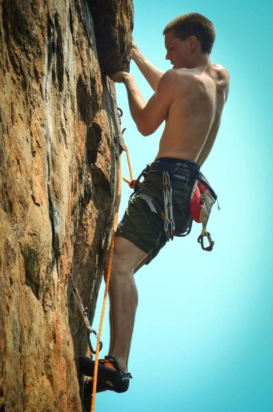 Rock Climbing Photo: Third bolt action.