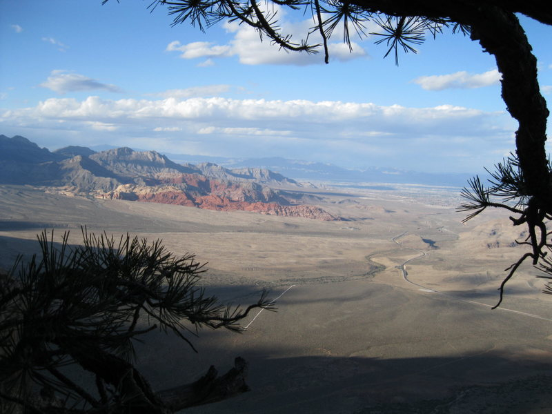 A view of the Calico Hills and Vegas from the Tectonic Shift Ledge.
