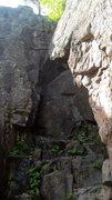 Rock Climbing Photo: Al on the Run 11.C, Starts at bottom right then lo...