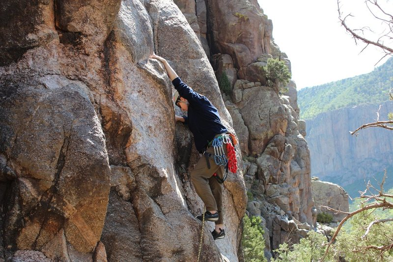 Rock Climbing Photo: Teri just after clipping the first bolt on Black B...