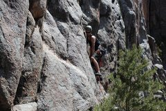 Rock Climbing Photo: Nick approaching second bolt on RSG.