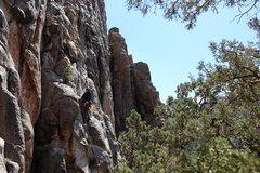 Rock Climbing Photo: Teri at the second bolt of Black Bunny Rabbit.