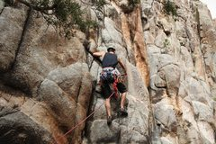 Rock Climbing Photo: Nick clipping the first bolt on 84.1% Eclipse of t...