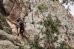 Rock Climbing Photo: Nick going left instead of right on the crux on 84...