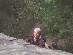 Rock Climbing Photo: martha at the top of hit man