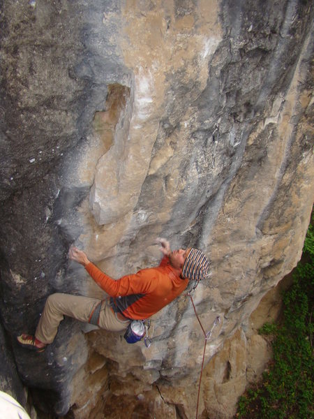 Rock Climbing Photo: Lee on Pabst Blue Ribbon, 5.13b  Boooze Wall. The ...