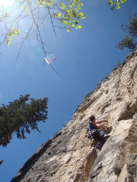 Jake figures out a sequence to get him out of the dihedral and into better looking territory on Beer Goggles, 5.10d.<br> <br> This climb has some finger banging cracks and other way cool features that require a bit of thought to help you unphuck yourself.