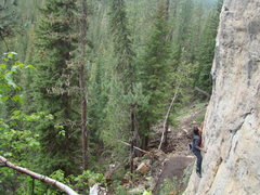 Rock Climbing Photo: Jake climbing Kim Gnardashian, 5.10a.  Blowin' Kis...