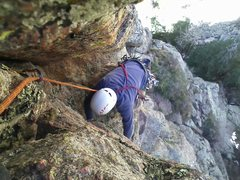 Rock Climbing Photo: Randy following on Pitch 2, at the awkward chimney...