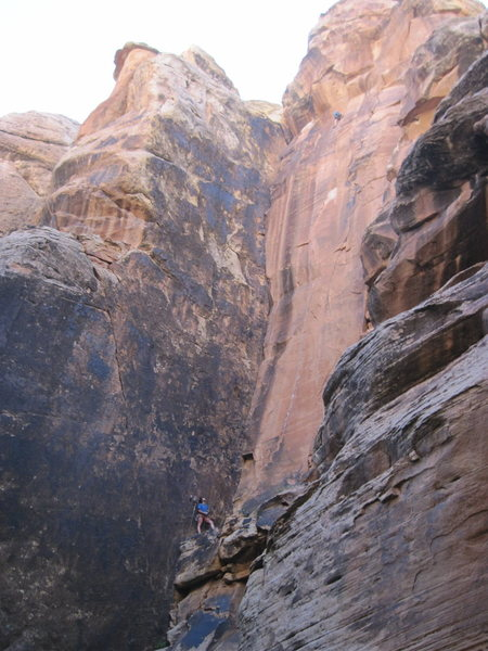 Climbers on Hanging Judge but this is a good shot of the whole route.
