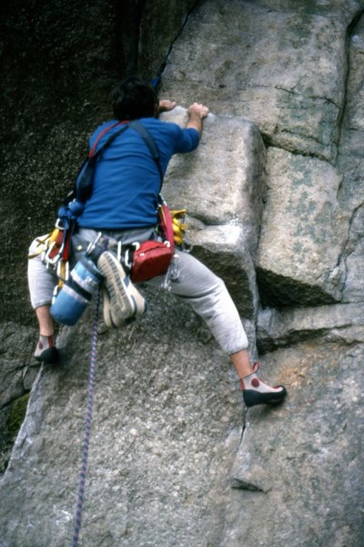 Rock Climbing Photo: April 5th 1988. The jug on Broken Sling after the ...