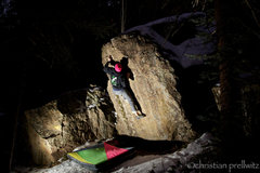 Rock Climbing Photo: Christian Prellwitz bearing down for the last hard...