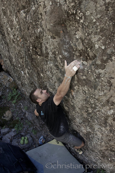 Christian Prellwitz sticking the first move on 'Karma' (V3+), one of the best lines at the Mine Boulders.