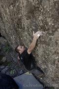 Rock Climbing Photo: Christian Prellwitz sticking the first move on 'Ka...