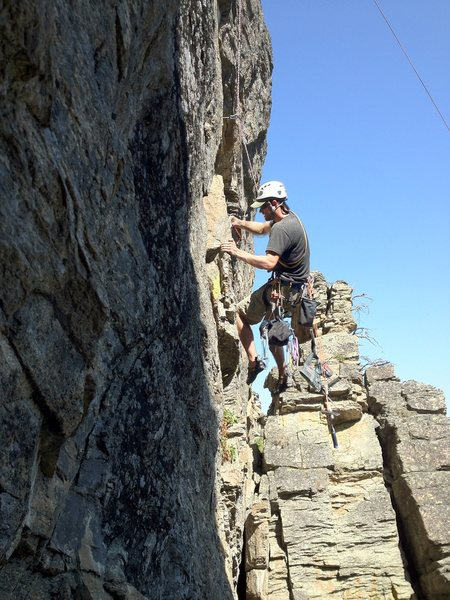 Rock Climbing Photo: Olin Martin drilling Capt. Morgan Goes to Rehab, 5...