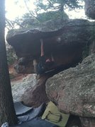 "Rock Climbing Photo: MZ on ""Mr. Cakes"", a new V7 near the Sat..."
