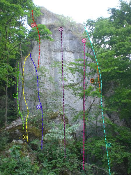 1)Kleiner Fuchs (8), 2)Exil (7-), 3)Michl Mörtl Ged. Weg (6+), 4)Tschernobyl (10-), 5)High Gravity Day (9/9+), 6)Freischwimmer (8+), 7) Bella Vista Direkt (8), 8) Bella Vista (7-)