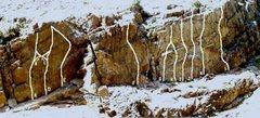 Rock Climbing Photo: Beta Photo Ice Wall; A. Dalmasism 12c B. Brain Dam...