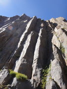 Rock Climbing Photo: Columns with various 5.9 and 5.10 cracks